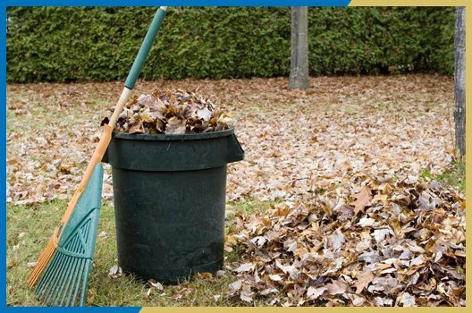 Clearing leaves in garden